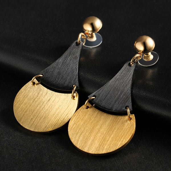 Gold Silver Color Brushed Metal Dangle Earring - [neshe.in]