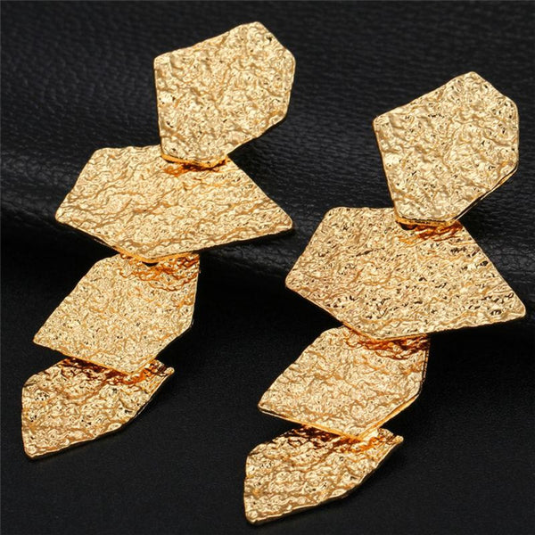 Irregular Geometric Shape Fold Design Drop Earrings - 2 Colors - [neshe.in]