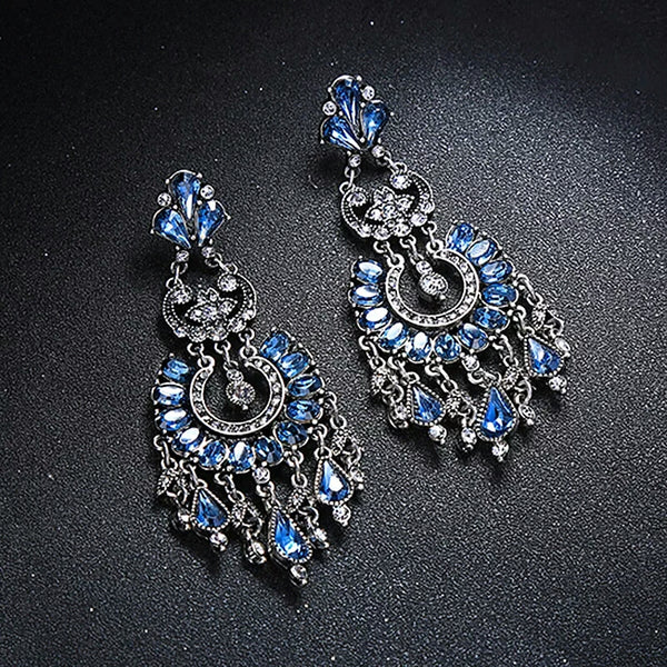 Blue Glass Crystal Big Chandelier Drop Earrings - [neshe.in]
