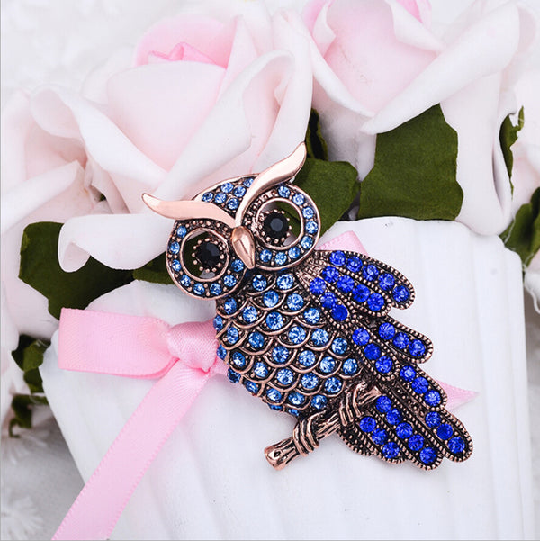 Retro Crystal Owl Brooch for Suit Dresses Sarees Clothing - 2 Colors - [neshe.in]