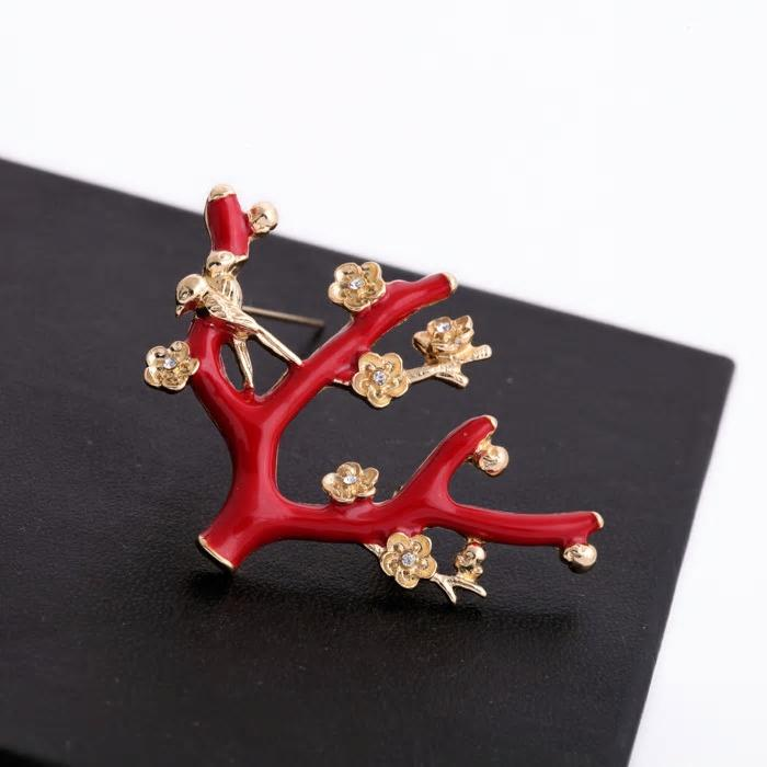 Exquisite Crystal Flowers on a Branch Red Enamel Brooch - [neshe.in]