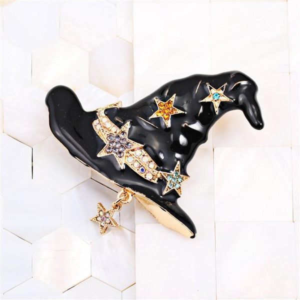 Enamel Witch Halloween Black Hat & Stars Brooch - [neshe.in]