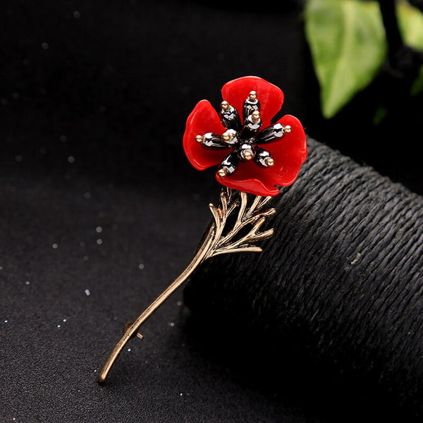Red Flower Golden Stem Brooch - [neshe.in]
