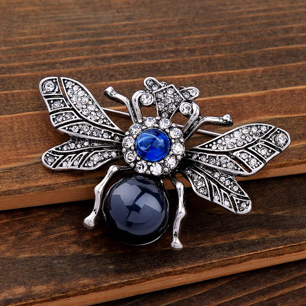 Resin Rhinestone Silver Bee  Brooch - [neshe.in]