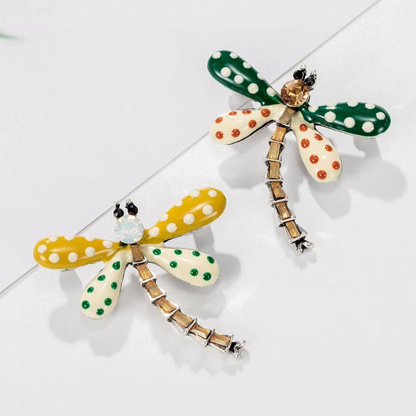 Cute Insect  Dragonfly Rhinestone  Brooch Pin -  Yellow wings