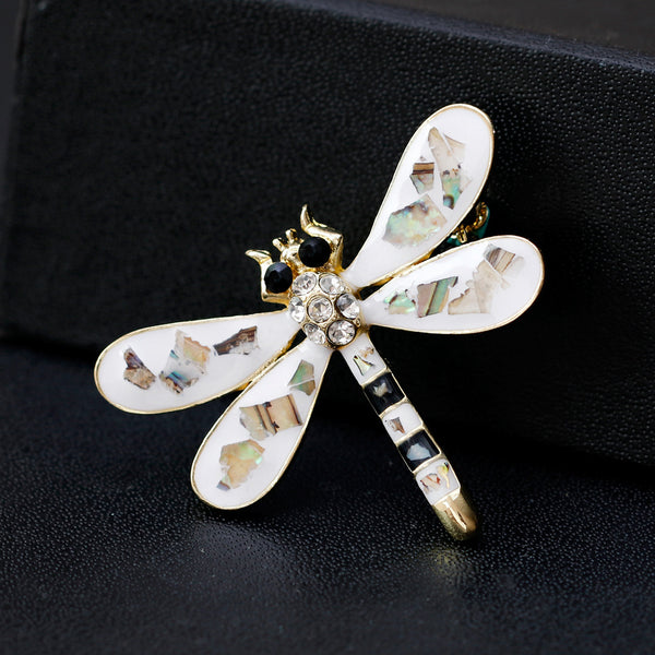 Cute White Insect  Dragonfly Rhinestone Brooch Pin