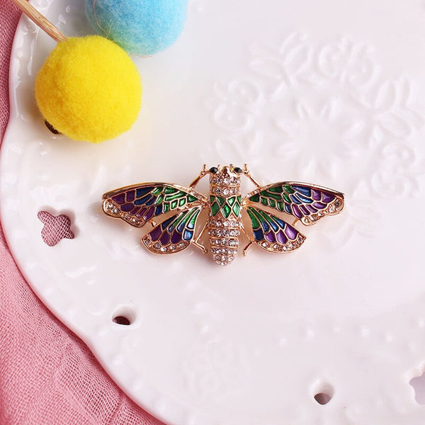 Colorful Moth Shaped Rhinestone Brooch