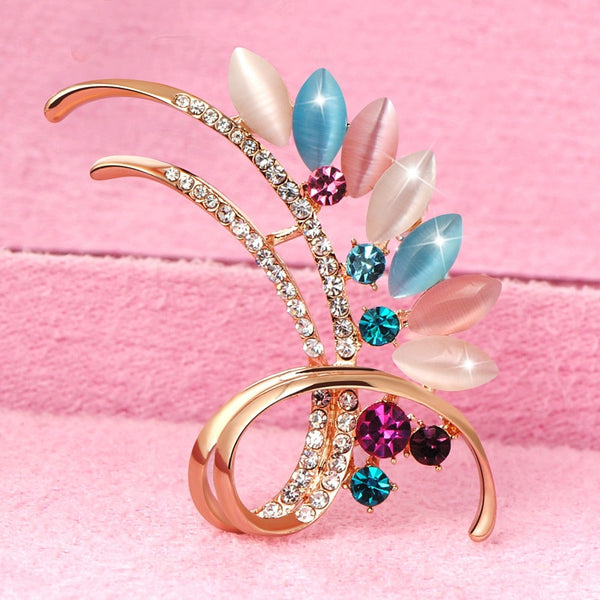 Multicolor Crystal Flower Brooch - [neshe.in]