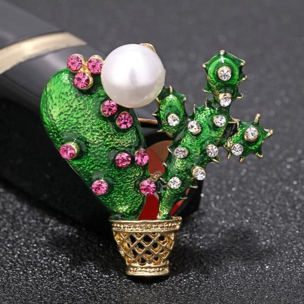 Green Enamel Cactus Brooch - [neshe.in]