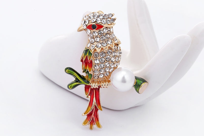 Rhinestone Bird Enamel Party Brooch - [neshe.in]