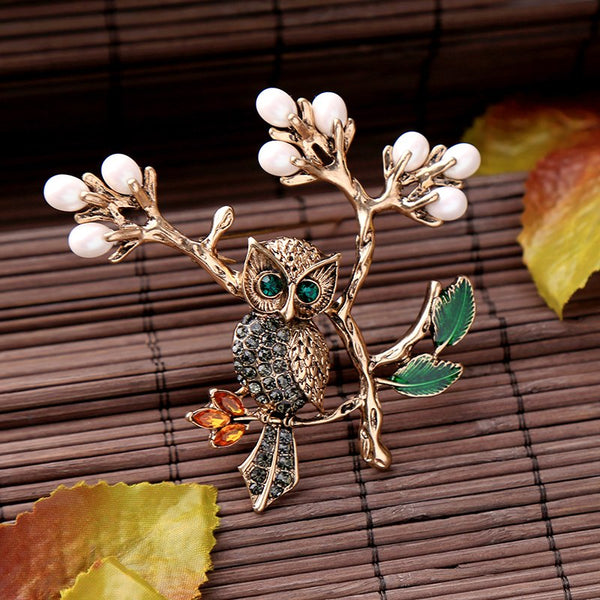 Vintage Owl on a Branch Pin Brooch - [neshe.in]