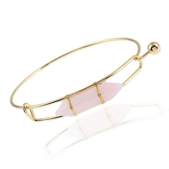 Golden Natural Stone Cuff Punk Bracelet Bangle - 2 Colors - [neshe.in]