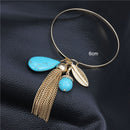 Gold Color Metal Chain Tassel Natural Stone Charms Bangle Bracelet - [neshe.in]
