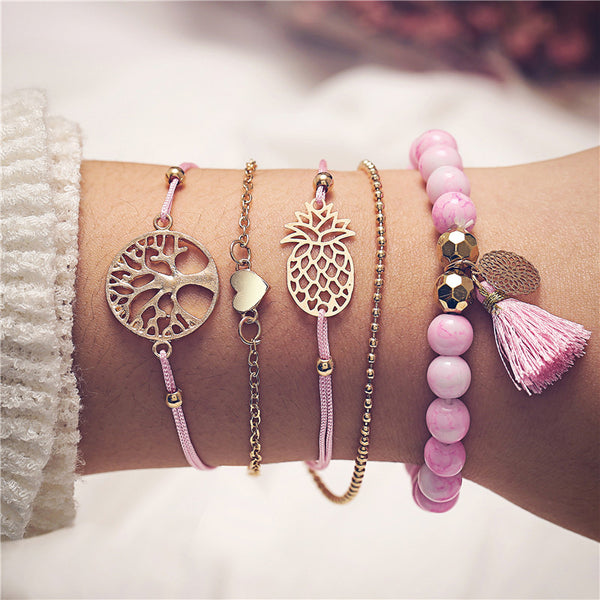 Bohemian Multilayer Pink Beaded Wish Tree Charm Bracelets - [neshe.in]