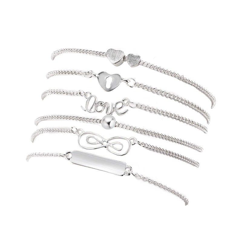 Vintage Infinity Charm with 6  Bracelets & Bangle -2 Color - [neshe.in]