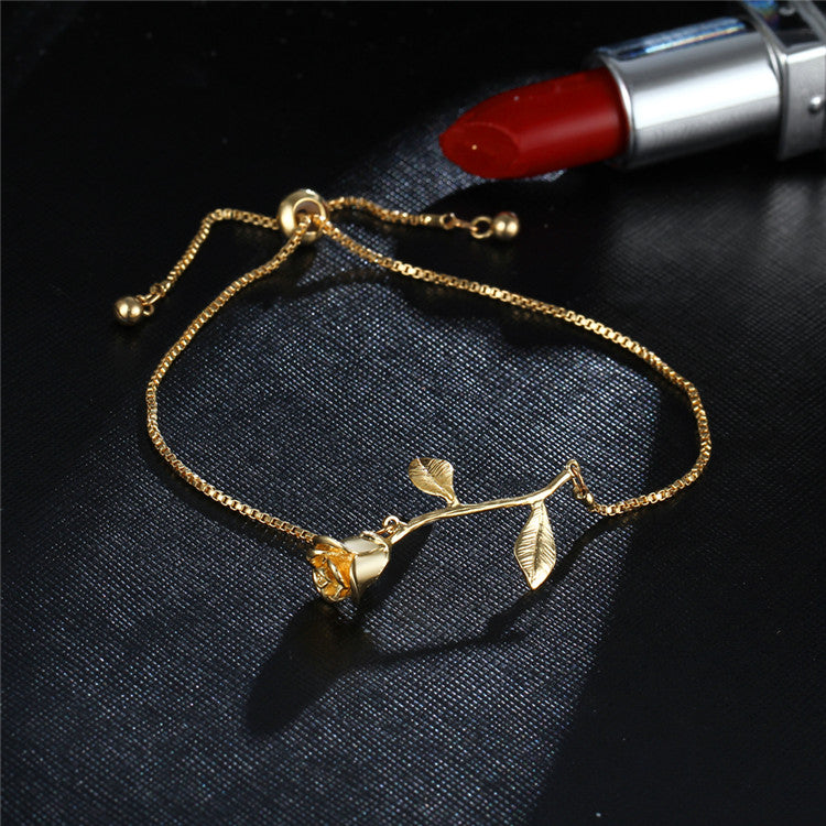 Rose Flower Charm Adjustable Heart Bracelet  2 Color For V day - [neshe.in]