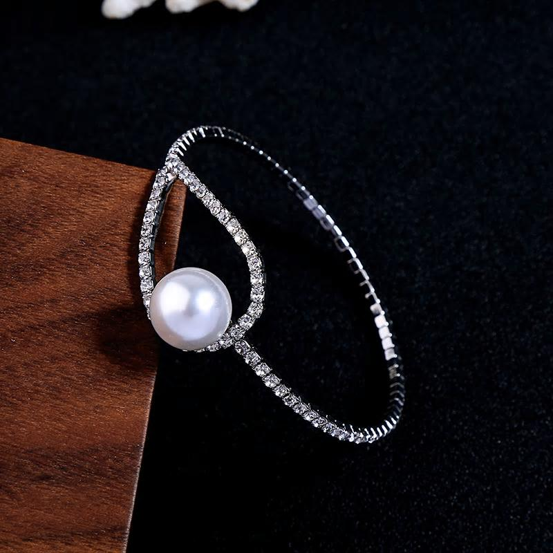 Silver Crystal Bangle Bracelet with Pearl Stud - [neshe.in]