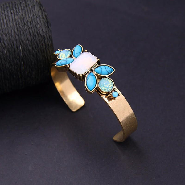 Vintage Colorful Stones Cuff Style Bangle Bracelet - [neshe.in]