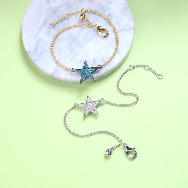 Chic Blue & Clear Star Charm Bracelet - 2 Colors - [neshe.in]