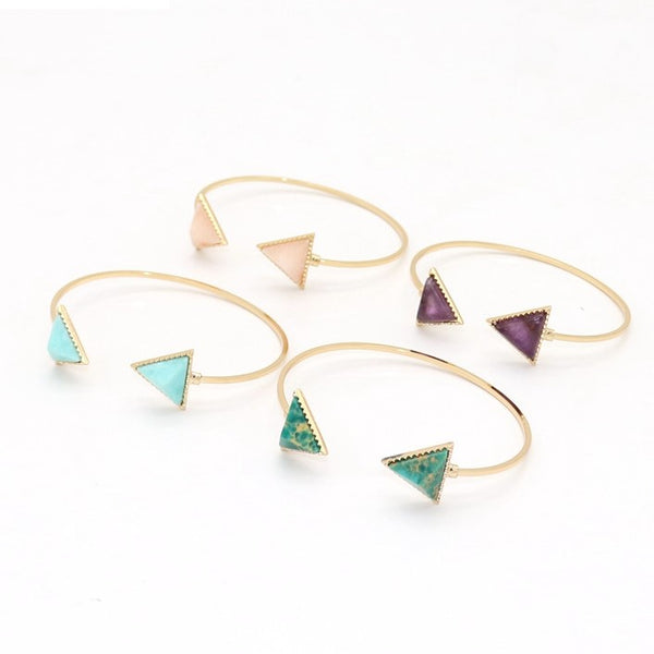 Elegant Triangle Stone Alloy Open Bracelet - 3 Colors - [neshe.in]