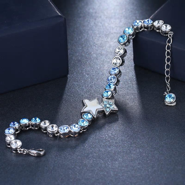 Light blue Crystal Round chain Bracelets Bangles. - [neshe.in]