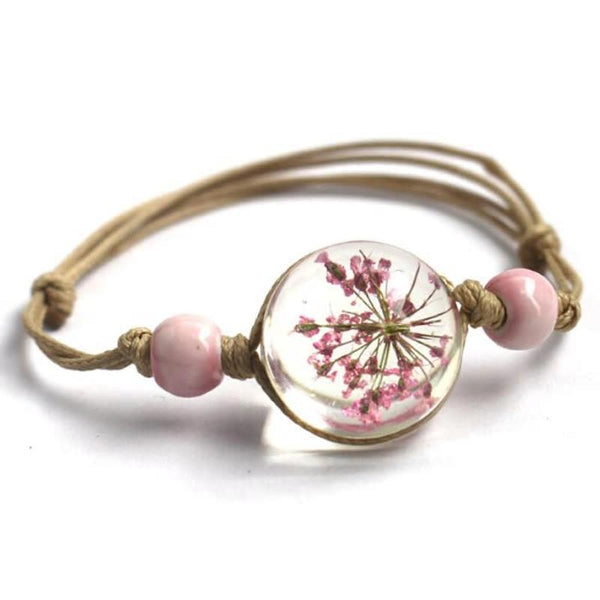 Glass Ball with Dry Flower Bracelet - 3 Colors (Adjustable) - [neshe.in]
