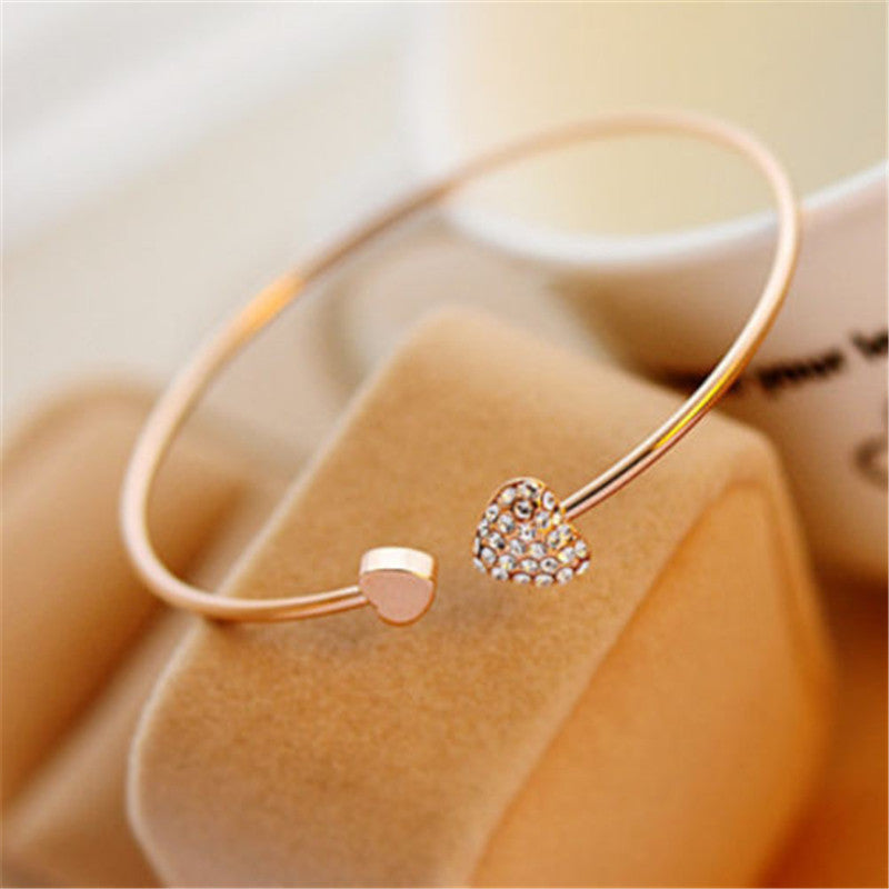 Heart Elegant Crystal Golden Bracelet - [neshe.in]