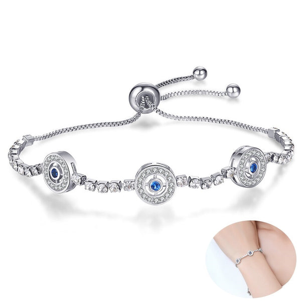 Small Evil Eye CZ Crystal  Chain Bracelet - [neshe.in]