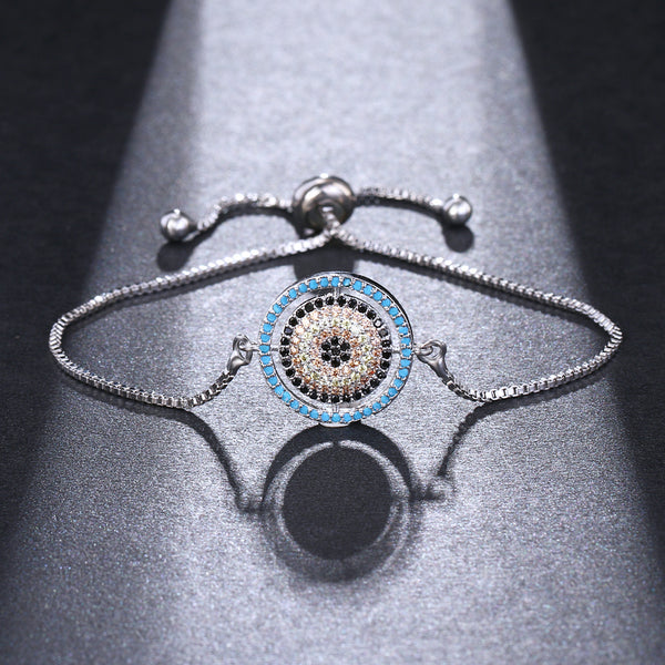 Blue Evil Eye Charm CZ Crystal Chain Bracelet - [neshe.in]