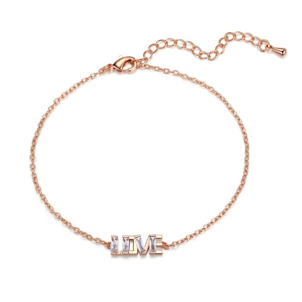 Letter Love Charm CZ Crystal Golden Chain Bracelet - [neshe.in]