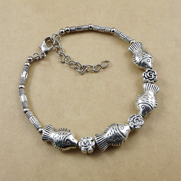 Fish and Flower Charm Tibetan Silver Vintage Bracelet - [neshe.in]