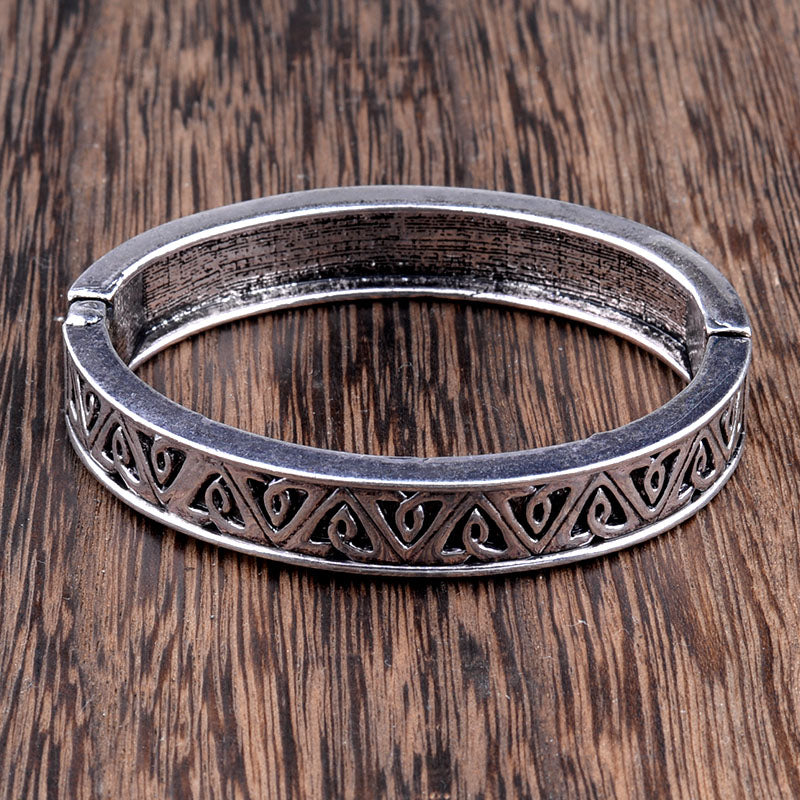 Tibetan Silver Vintage Carved Geometric Cuff Bangle Bracelet - [neshe.in]