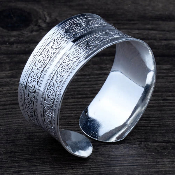 Concave Tibetan Silver Vintage Tribal Bangle Cuff Bracelet - [neshe.in]