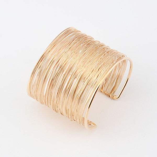 Stylish Golden Wires Cuff Bangle Bracelet - [neshe.in]
