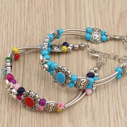 Bohemian Beaded Styled Bangle Bracelet - 2 Colors - [neshe.in]