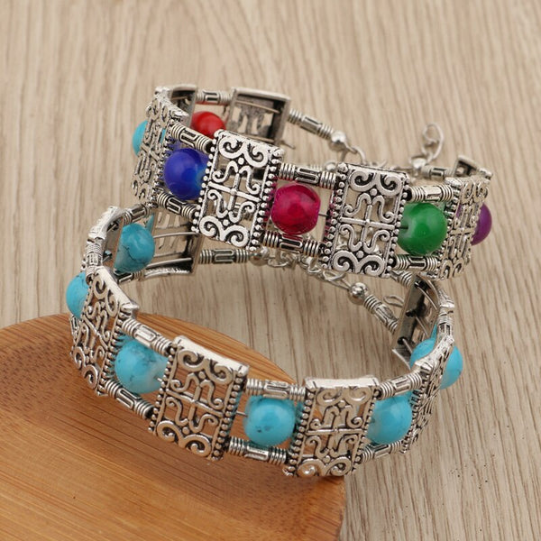 Bohemian Beaded Square Styled Bangle Bracelet - 2 Colors - [neshe.in]