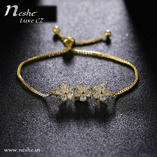 CZ Flower Adjustable Bracelets - 2 colors