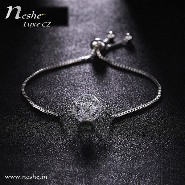 Flower CZ Charm  Bracelets Adjustable -2 Colors
