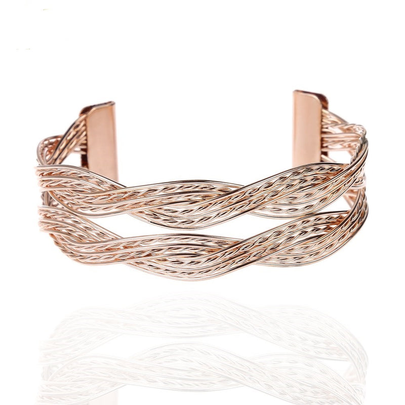 Trendy Golden Twisted Metal Bangle Bracelet - [neshe.in]