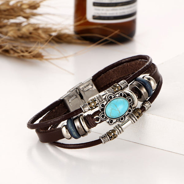 Leather Charm with turquoise Flower Stone Bracelet - [neshe.in]
