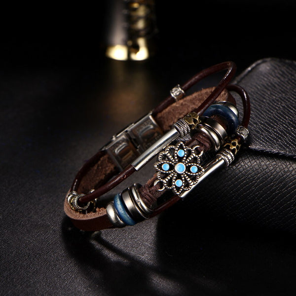 Leather Charm  with Flower turquoise stone Bracelet - [neshe.in]