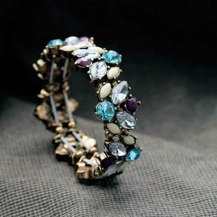 Chain Plant Colorful Crystal Elastic Bracelets And Bangles - [neshe.in]