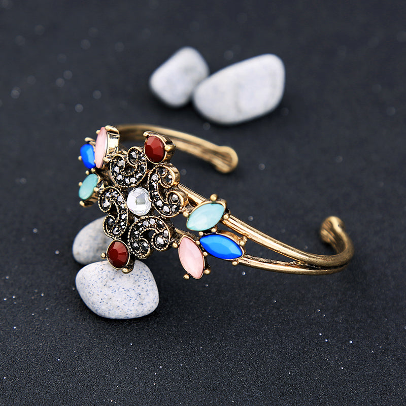 Crystal Flowers Bracelets  Alloy Cuff Bangle Statement - [neshe.in]
