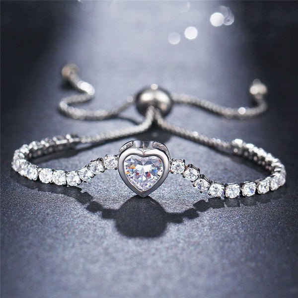 Elegant CZ Crystal Heart Charm Bracelet - 2 Colors - [neshe.in]