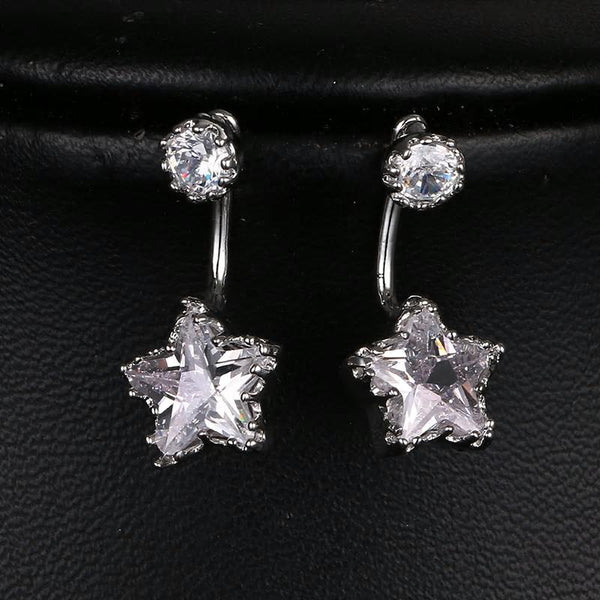 CZ Star Crystal White Gold plated Ear Jacket Earrings - [neshe.in]
