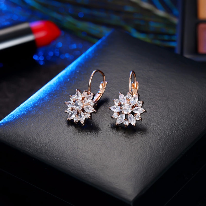 CZ Crystal Drop Huggies Earring - 2 Colors - [neshe.in]