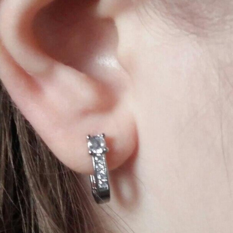 CZ Cute Crystal Huggies Hoop Earring - [neshe.in]
