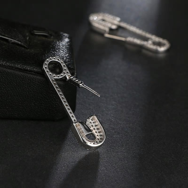 Stylish CZ Crystal Safety Pin Styled Pierced Earring - [neshe.in]