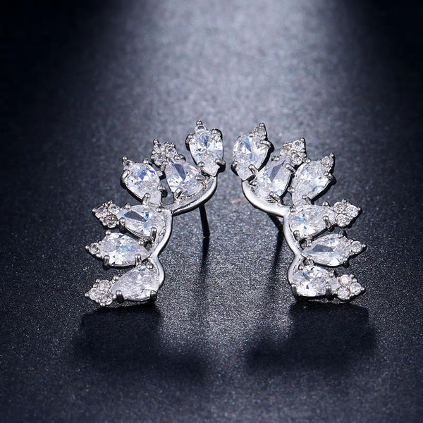 CZ Austrian Clear Crystal Stud Earring - [neshe.in]