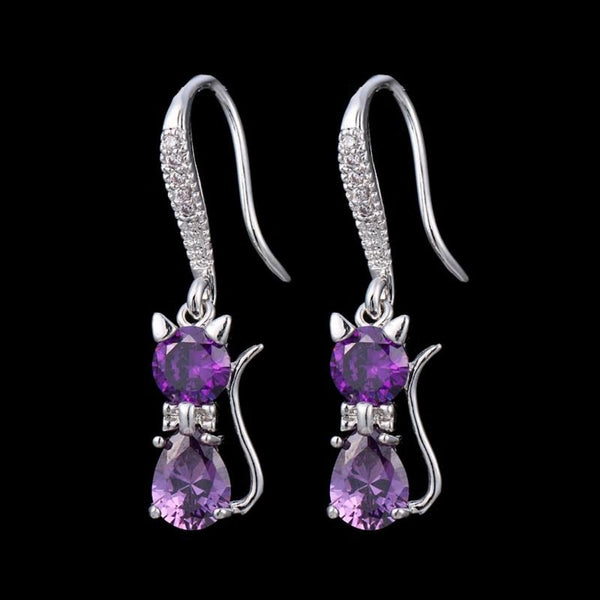 Cute Purple CZ Crystal Cat Drop Earring - [neshe.in]
